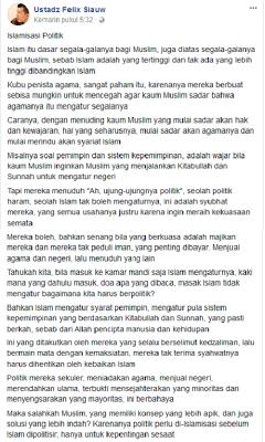 Felix Siauw: Khilafah Harus Tegak, Pemerintah Merendahkan Ulama dan Menjual Negeri